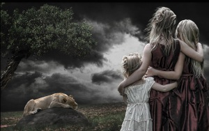 Preview-children-girls-lion-stone-wood-cloudy-wallpaper-wp3609698