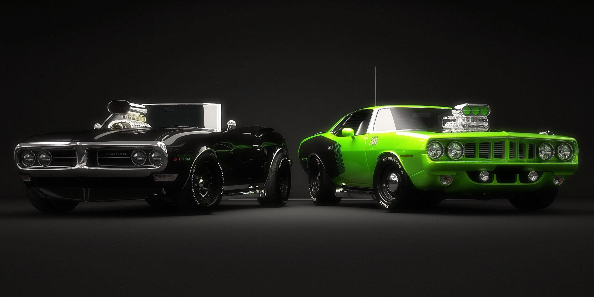 Green Spots Car With Girls Hd Wallpaper: Muscle Fond D'écran Voiture HD