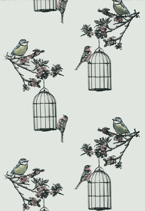 A-beautiful-spring-design-of-blossom-trees-hung-with-bird-cages-and-garden-birds-blue-tits-and-cha-wallpaper-wp423335