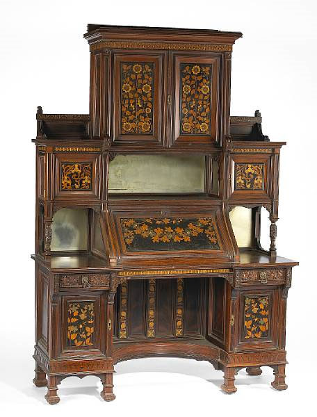A-fine-American-Aesthetic-carved-and-inlaid-rosewood-secretary-cabinet-commissioned-for-the-Salon-of-wallpaper-wp5203662