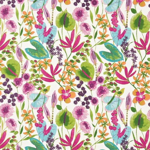 Amazila-wallcoverings-and-fabrics-at-Grizzel-Mann-ADAC-Atlanta-tropical-green-pink-blue-wallpaper-wp4603587