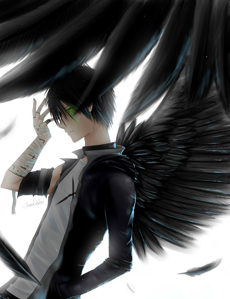 Anime-art-guy-boy-man-black-wings-angel-injured-hothothot-wallpaper-wp4003020-1
