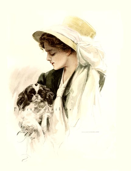 Antique-Harrison-Fisher-Edwardian-Beauties-Fashion-Lithograph-She-Took-My-Fido-A-lovely-sig-wallpaper-wp423703-1