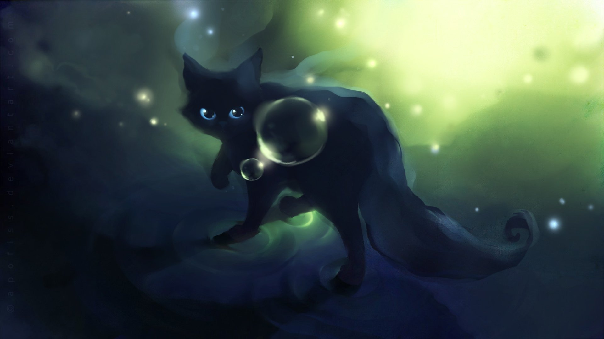 Apofiss-small-black-cat-watercolor-illustrations-1920x1080-wallpaper-wp3602641
