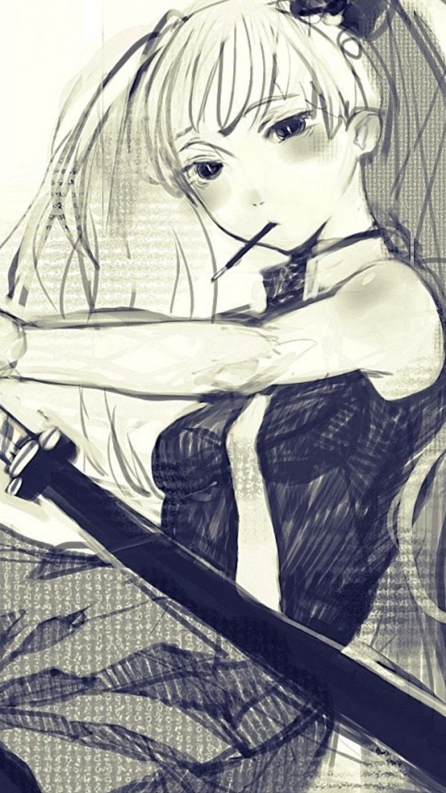 Art-Sugimoto-Gang-Girl-Katana-Anime-Style-iPhone-s-wallpaper-wp423767