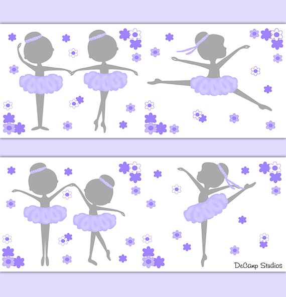 BALLERINA-NURSERY-DECOR-Border-Lavender-Wall-Art-wallpaper-wp5204383
