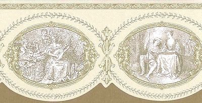 BEIGE-Cream-TOILE-Border-Scalloped-Edge-Frames-Bayside-Design-AQB-wallpaper-wp5803933