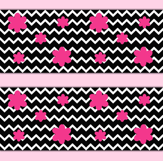 BLACK-CHEVRON-Wall-Border-Art-Decal-Hot-Pink-Flower-Girl-Teen-Bedroom-Baby-Nursery-Childre-wallpaper-wp3003733