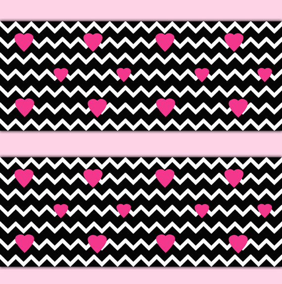 BLACK-CHEVRON-Wall-Border-Decal-Hot-Pink-Heart-Teen-Girl-Bedroom-Baby-Nursery-Childrens-Ro-wallpaper-wp3003734