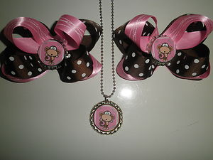 BOBBY-JACK-PINK-BROWN-POLKA-DOT-HAIR-BOW-NECKLACE-SET-wallpaper-wp5005380