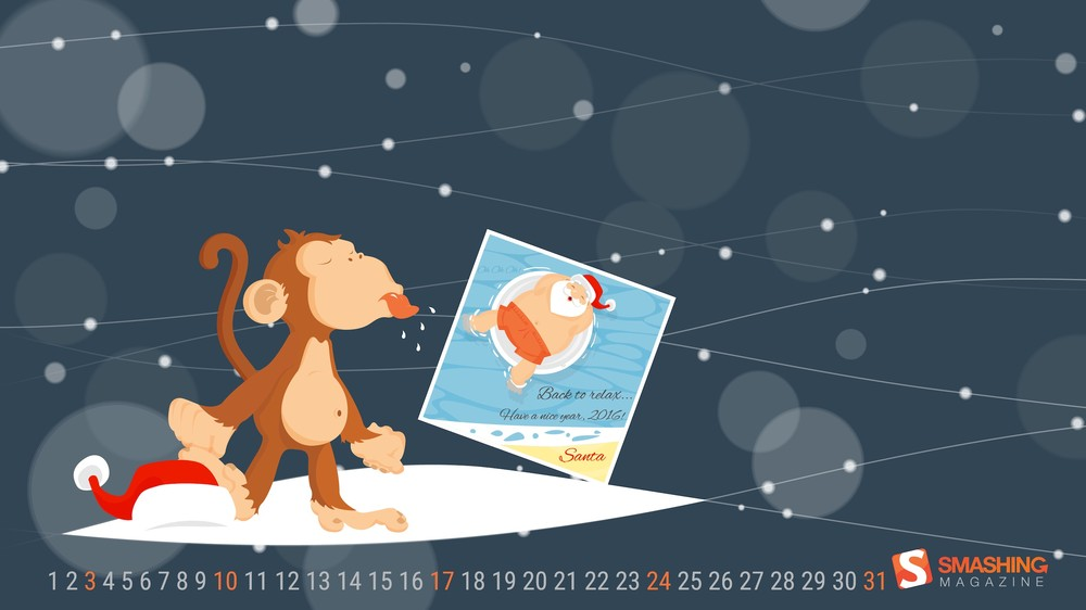 "Back-To-Relax…-Not-For-The-Monkey-""Santa-Claus-is-going-to-relax-till-next-Christmas-and-every-wallpaper-wp4804483"