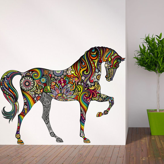 Because-she-s-crazy-bout-horses-Horse-Wall-Decal-in-Flower-Rainbow-Design-wallpaper-wp5204530