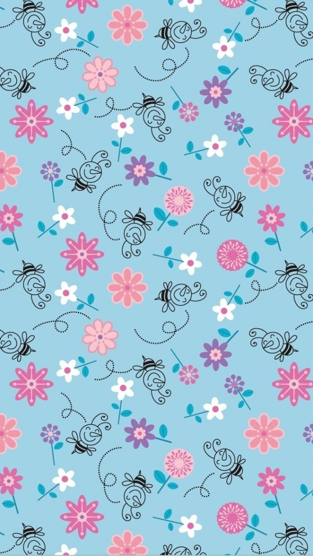 Bees-and-Flowers-Illustration-Pattern-iPhone-wallpaper-wp424024-1