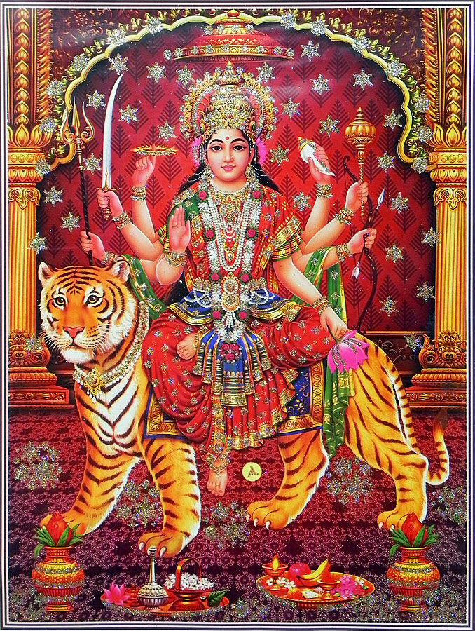 Bhagawati-Poster-with-Glitter-Reprint-on-Paper-Unframed-wallpaper-wp5804023