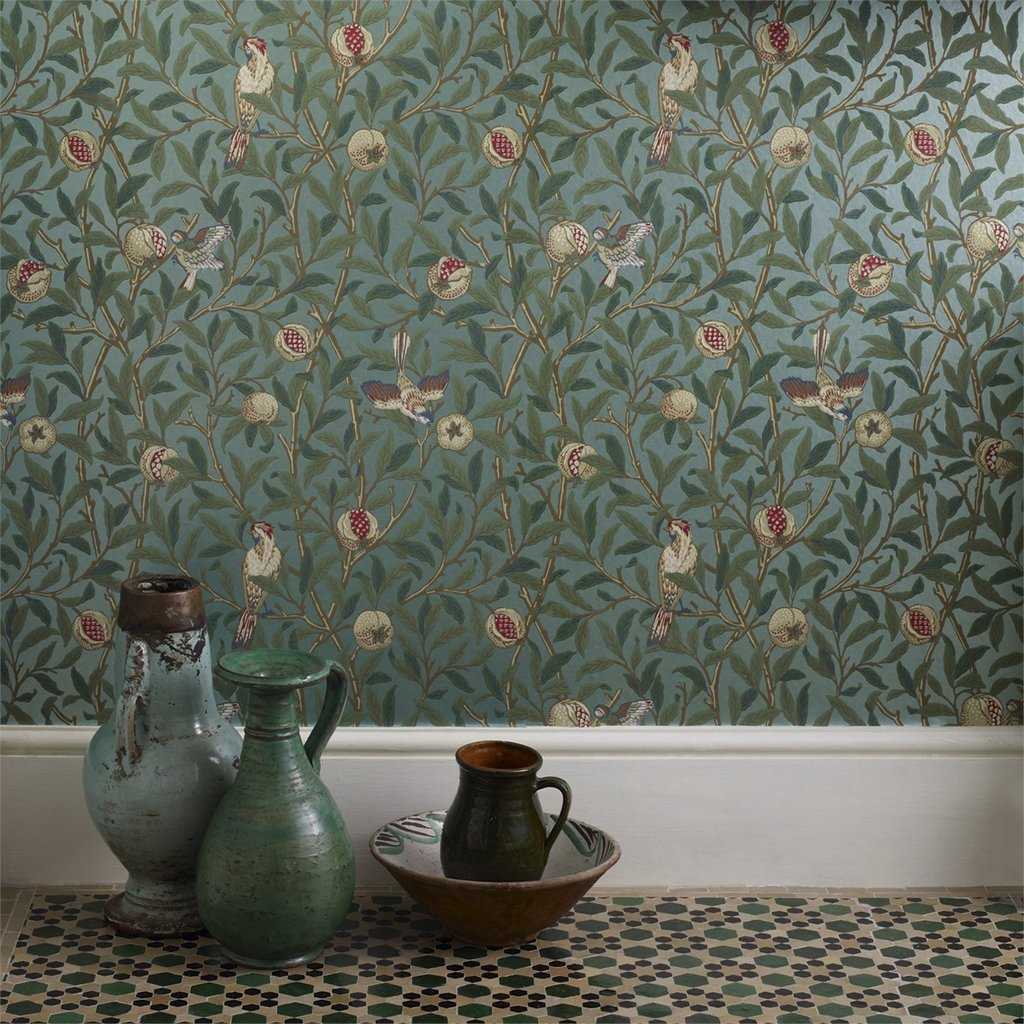 Bird-Pomegranate-Turquoise-Coral-William-Morris-com-wallpaper-wp4405107