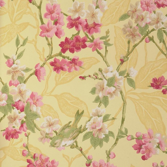 Birdsong-of-small-birds-on-pink-and-creamblossom-on-yellow-background-wallpaper-wp424123-1