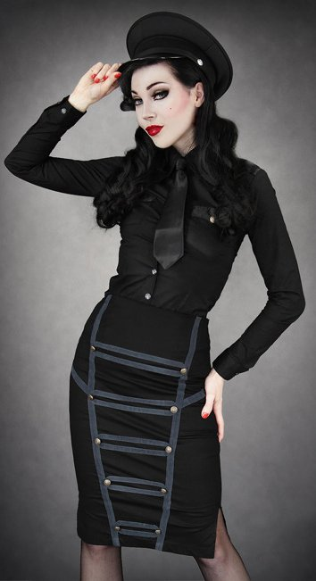 Black-Military-Pencil-Skirt-with-Grey-Trim-by-Restyle-wallpaper-wp3003746