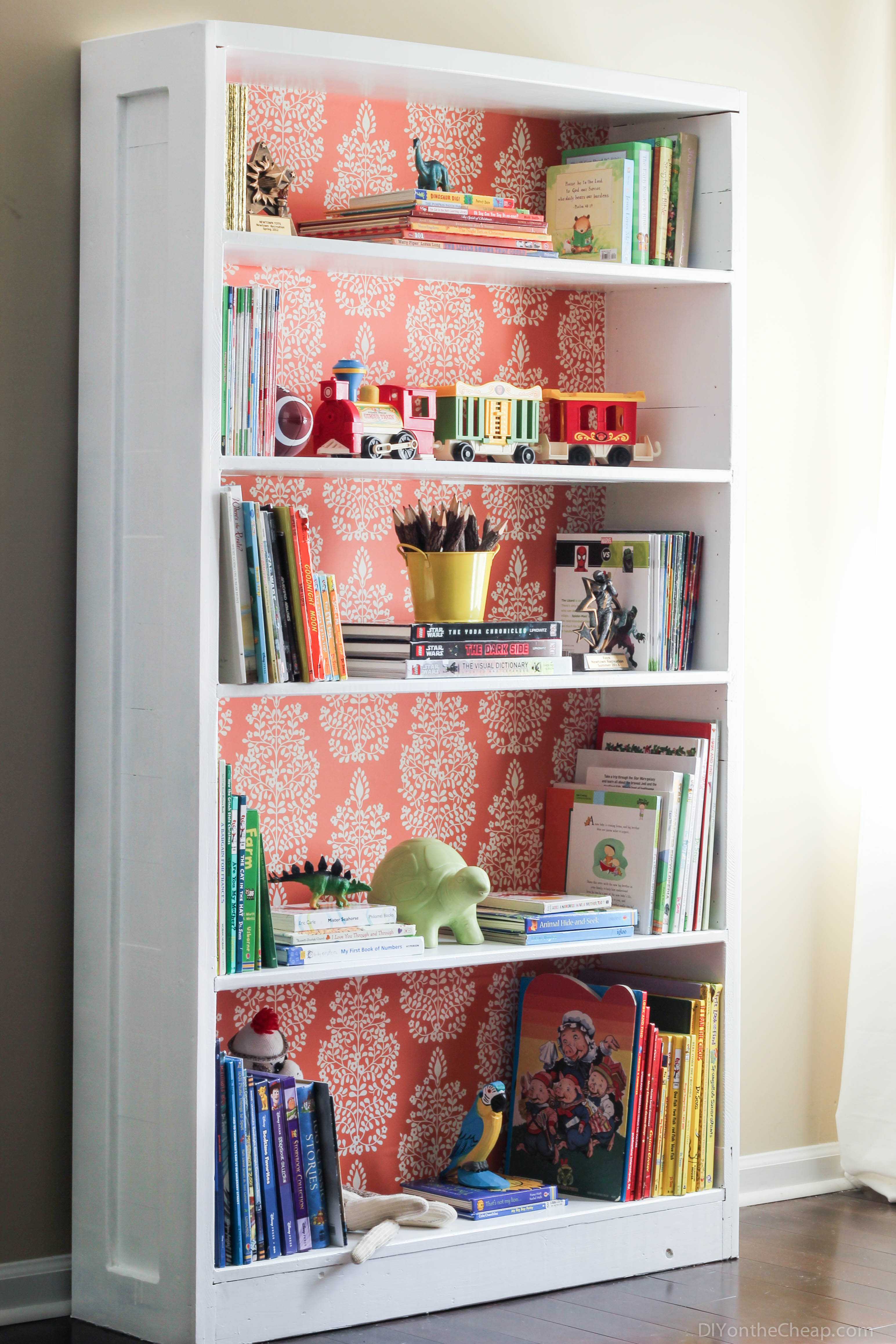 Bookshelf-Makeover-Paint-and-removable-backing-makes-for-a-dramatic…-wallpaper-wp5204779