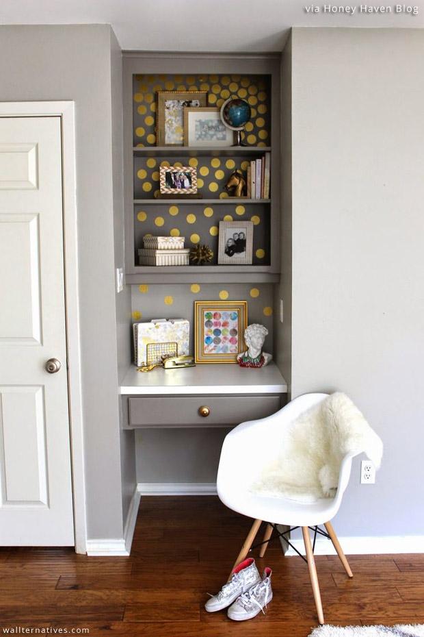 Bookshelf-Makeover-via-Honey-Haven-Blog-Dots-Vinyl-Pattern-Pack-Minis-by-Wallternatives-wallpaper-wp5403784