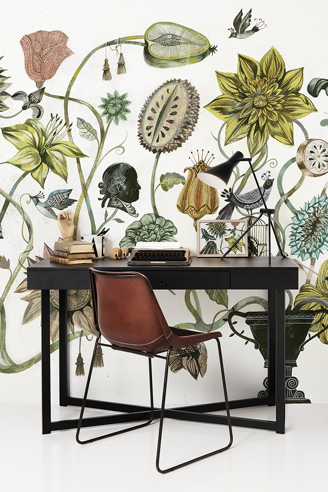 Botanical-and-cognac-colered-leather-chair-wallpaper-wp5403794