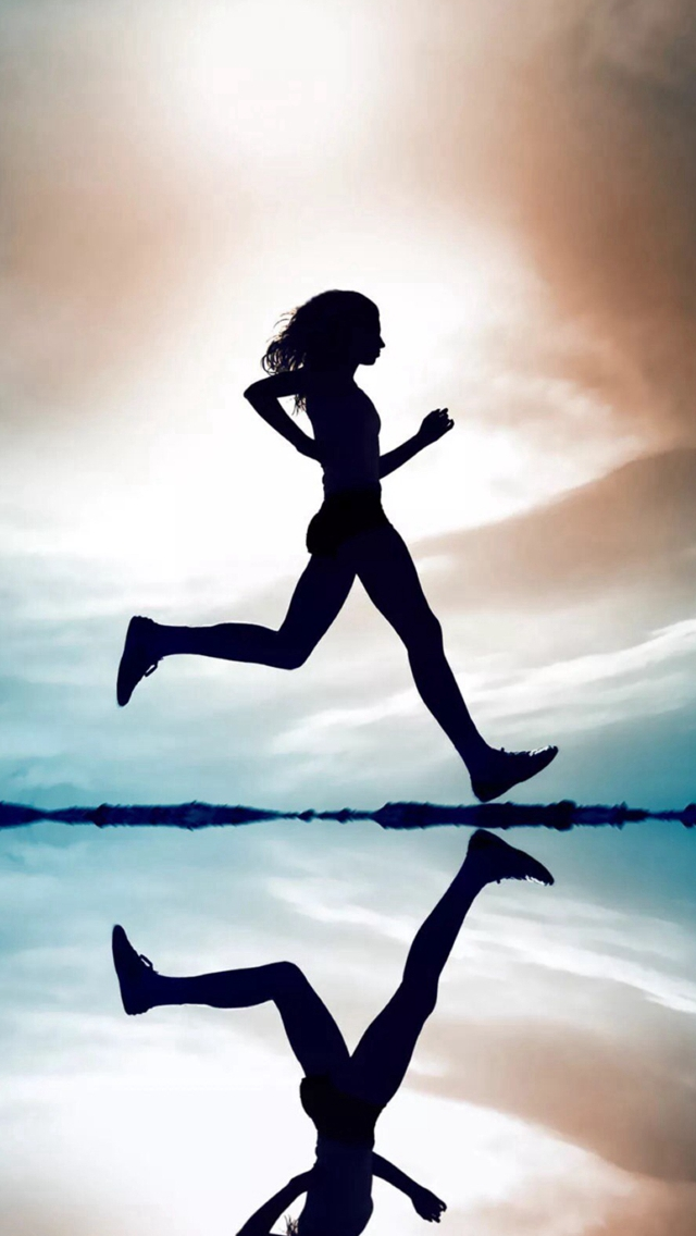 Bright-Running-Silhouette-Reflection-Skyline-iPhone-s-wallpaper-wp424244