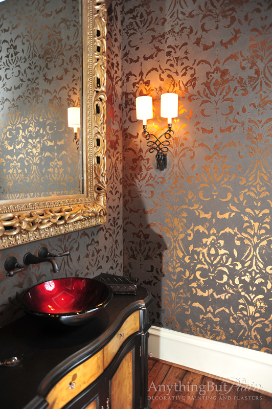 Bronze-Foil-Damask-with-Catherine-Wall-Sconce-SC-wallpaper-wp5603601