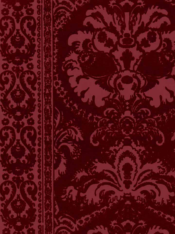 Burgundy-Flocked-wall-paper-wallpaper-wp4003734-1