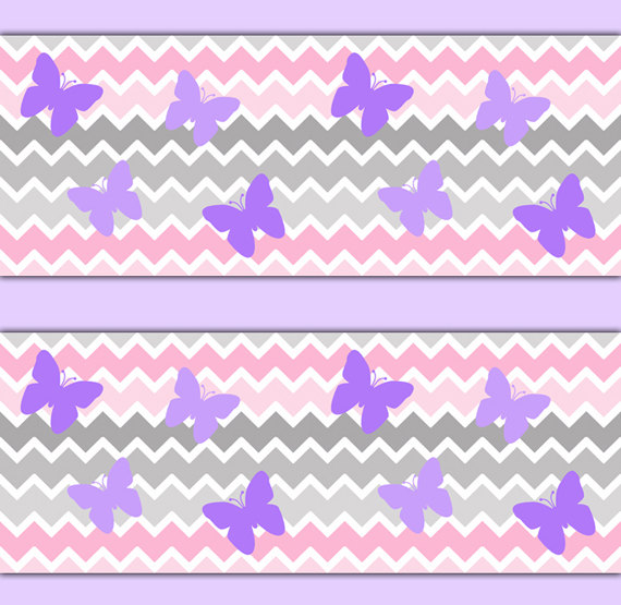 CHEVRON-BORDER-Decals-Grey-Gray-Pink-Ombre-Purple-Butterfly-Baby-Girl-Nursery-Wall-Decor-K-wallpaper-wp3004326