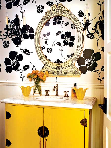 Canary-yellow-paint-brightens-up-the-sink-console-and-the-large-scale-black-and-white-floral-wallp-wallpaper-wp5005735