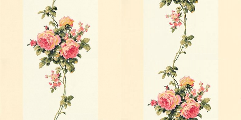Casabella-LY-Galerie-Cream-and-white-stripes-featuring-exquisite-rose-bouquets-wallpaper-wp5005766