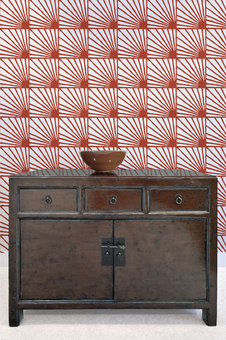 Catch-Some-Rays-in-Cayenne-red-Bold-and-Colorful-Statement-Handprinted-By-Sarah-Ru-wallpaper-wp5205047