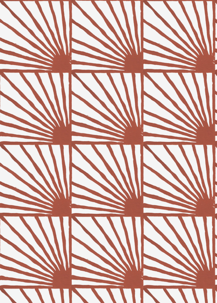 Catch-Some-Rays-in-Cayenne-red-Hand-Block-Printed-by-Sarah-Ruby-wallpaper-wp5205048