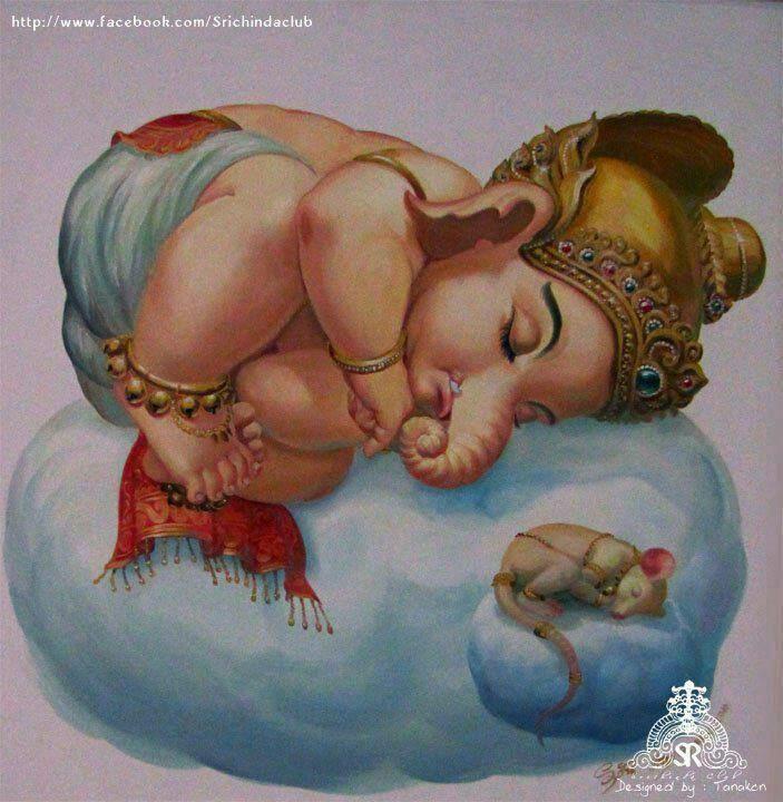 Charming-image-of-a-sleepy-little-Ganesha-and-Musika-vahana-wallpaper-wp4604630
