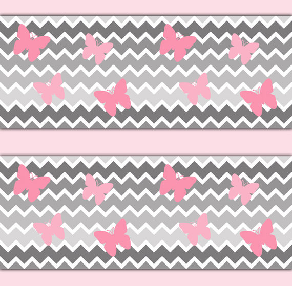 Chevron-Border-Wall-Art-Decals-Girl-Pink-Gray-Ombre-Butterfly-Sticker-decampstudios-wallpaper-wp5205157