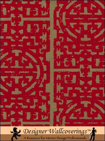 Chinese-Fret-Flocked-Velvet-Red-Flock-on-aged-gold-wallpaper-wp3004338