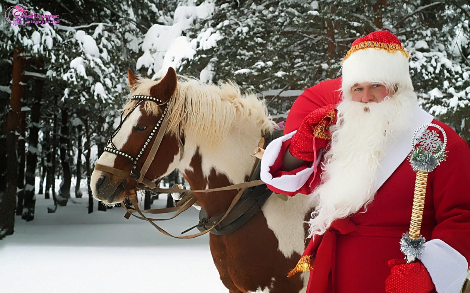 Christmas-Santa-Merry-Christmas-Santa-Claus-in-Snow-with-Horse-wallpaper-wp4604758