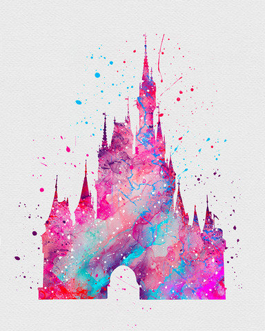 Cinderella-Castle-Watercolor-Art-VIVIDEDITIONS-wallpaper-wp3004359