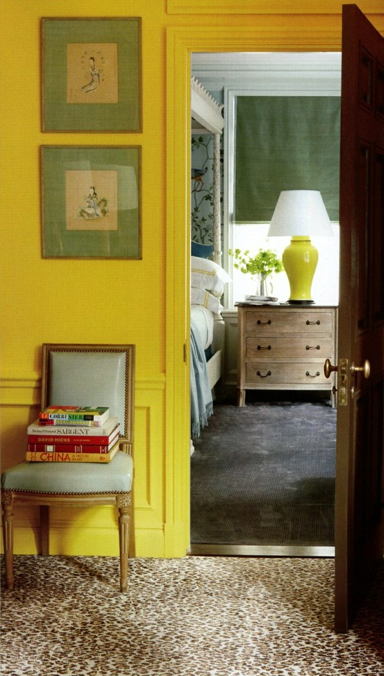 Citron-yellow-hall-with-leopard-carpet-looking-into-a-gorgeous-Chinoiserie-master-bedroom-Note-how-wallpaper-wp5006105