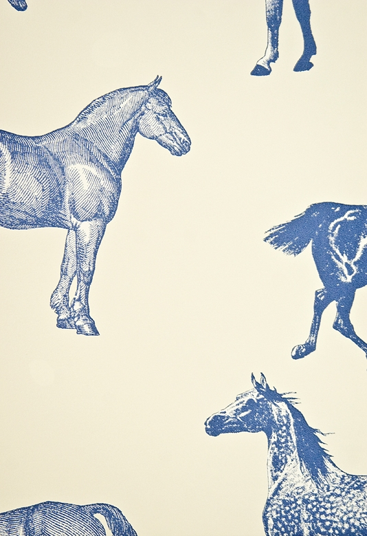 Collette-smart-off-white-with-bold-blue-and-white-etched-equestrian-illustration-wallpaper-wp5404182
