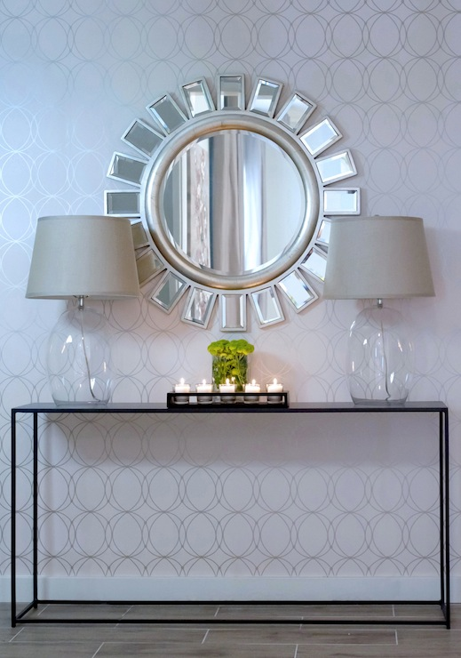 Contemporary-entryway-Crisp-silver-and-white-geometric-glass-lamps-sleek-metal-console-wallpaper-wp5205369-1