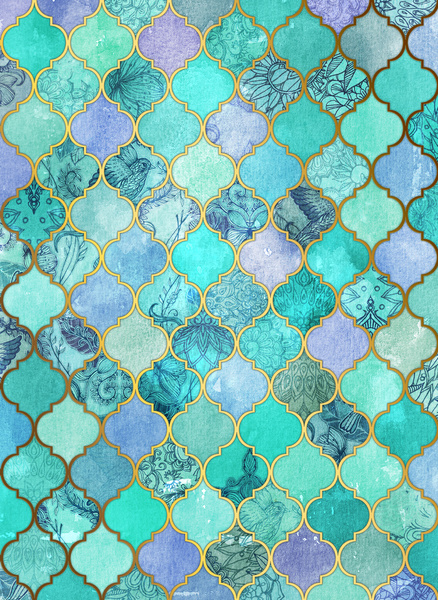 Cool-Jade-Icy-Mint-Decorative-Moroccan-Tile-Pattern-Art-Print-by-micklyn-wallpaper-wp4004051