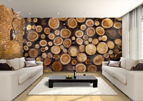 Creative-wall-design-with-wood-logs-wallpaper-wp5006336