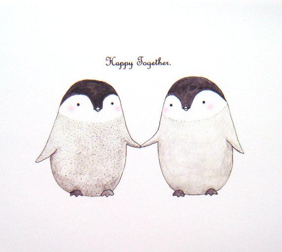 Cute-Penguin-Love-Original-Animal-Illustration-Print-by-mikaart-wallpaper-wp6002864