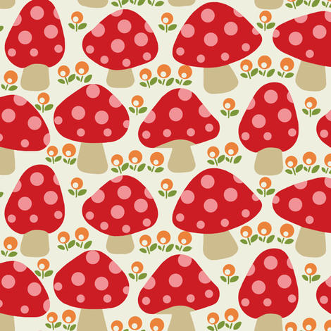 Dottie-mushrooms-Red-fabric-by-hoodie-crescent-wallpaper-wp3005136