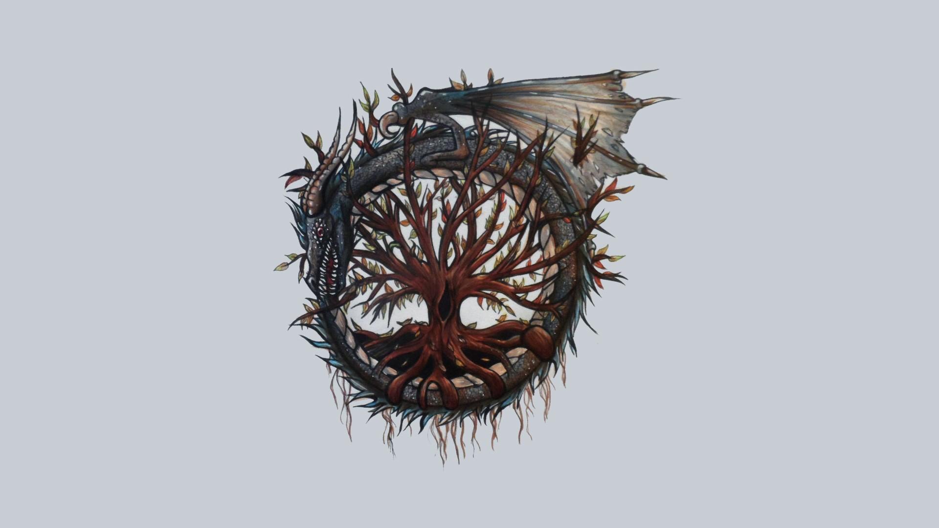 Download-hd-of-digital-Art-Minimalism-Trees-Branch-Roots-Dragon-Circle-Celt-wallpaper-wp3404862