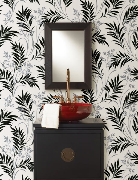 Dramatic-Black-White-and-Red-Powder-room-with-Black-Bamboo-PowderRoom-wallpaper-wp4406562-2