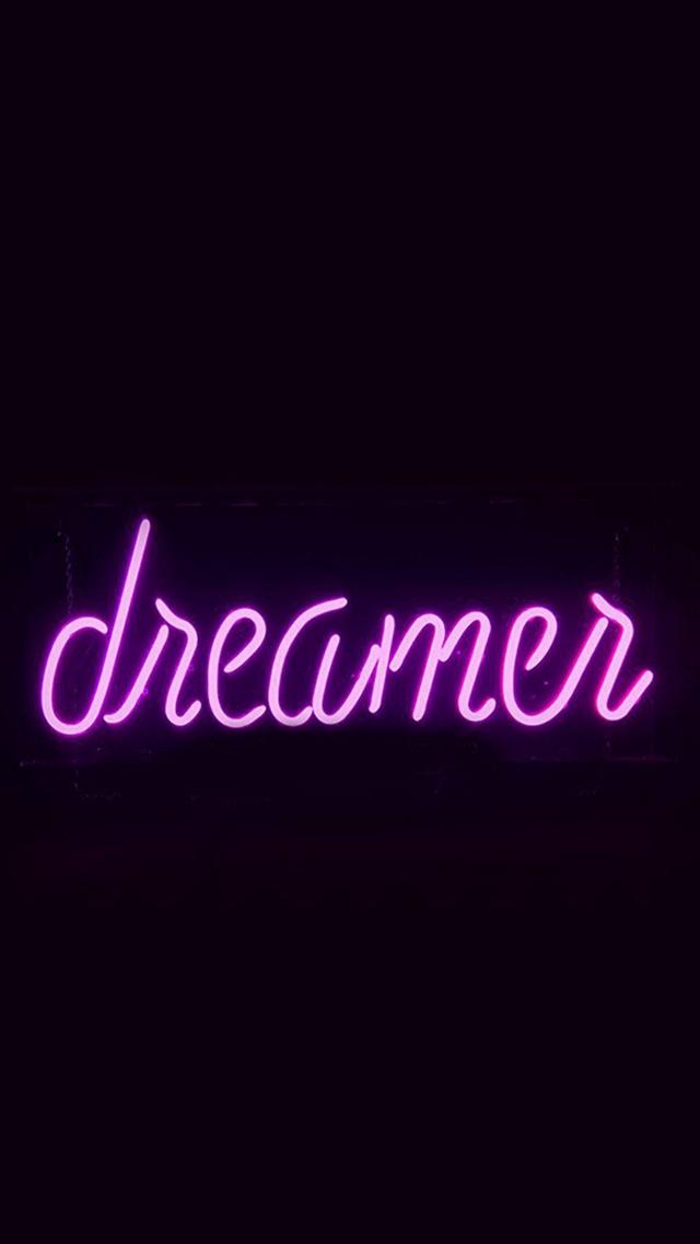 Dreamers-Neon-Sign-Dark-Illustration-Art-Purple-iPhone-s-wallpaper-wp425039