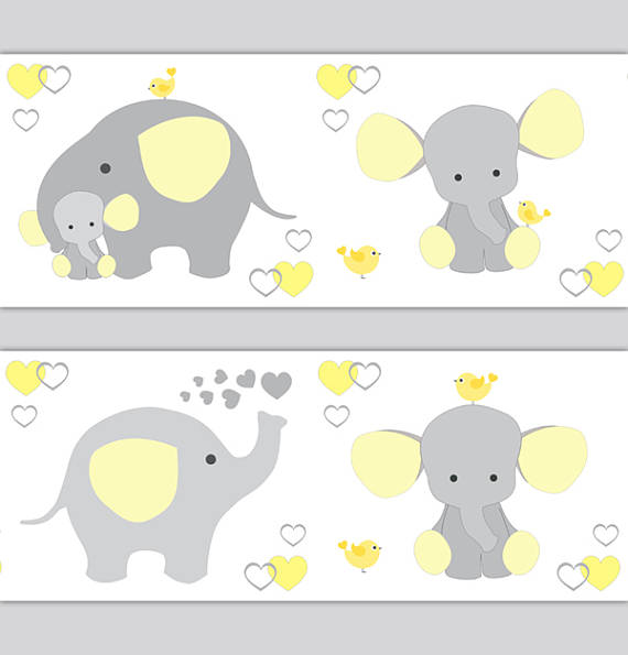 ELEPHANT-NURSERY-DECOR-Border-Decal-Neutral-Yellow-Gray-wallpaper-wp5206162