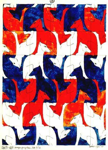 Escher-dog-tessellation-royal-blue-bright-orange-and-white-wallpaper-wp4605679