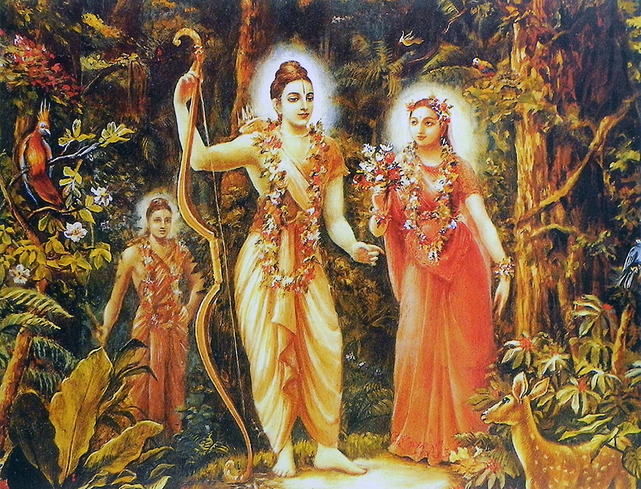 Exile-of-Rama-Sita-and-Lakshmana-in-Jungle-Reprint-on-Paper-Unframed-wallpaper-wp5604653